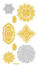 Sexy Water Transfer Golden Gold Silver Tatoo Design Hollow Flowers Fake Glitter Metallic Temporary Tattoo Sticker Tatouage Taty