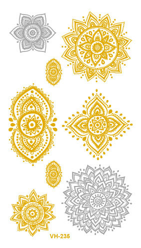 Sexy Water Transfer Golden Gold Silver Tatoo Design Hollow Flowers Fake Glitter Metallic Temporary Tattoo Sticker Tatouage Taty