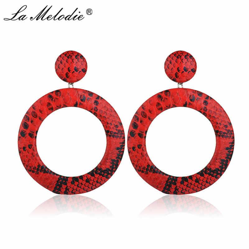 ใหม่ Boho ยุ้ยสีแดงสีน้ำเงินรอบเสือดาวพิมพ์ Drop ต่างหูสำหรับผู้หญิงงูวงกลม Dangle ต่างหูหญิงเครื่องประดับ