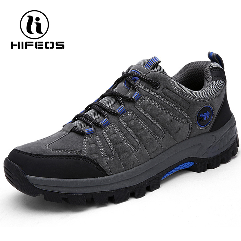 HIFEOS hiking shoes anti-slip breathable mesh outdoor wear-resistant travel trekking sneakers low-top suede leather soft M033 suede low top slip on sneakers