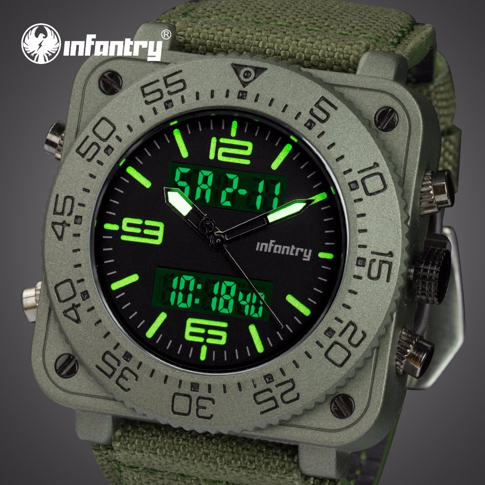 INFANTRY Top Brand Men Watch Sport Katonai Taktikai Kvarc Órák LED - Férfi órák