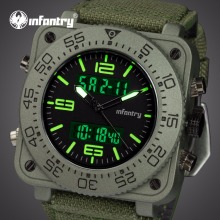 INFANTRY Top Merk Herenhorloge Sport Militaire Tactische Quartz Horloges LED Analoge Digitale Duurzame Nylon Band Horloges Relojes