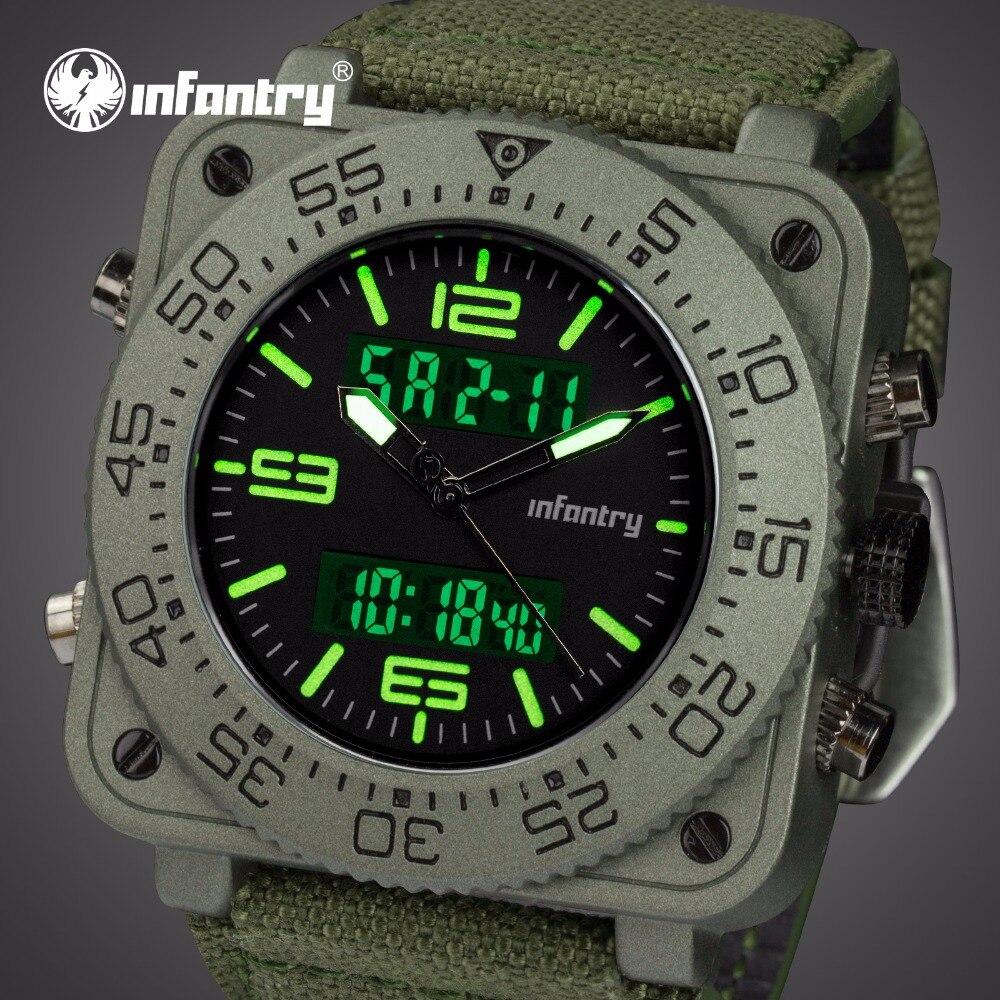 Infanterie militaire montre hommes analogique numérique hommes montres Top marque luxe tactique montres pour hommes carré Sport Relogio Masculino