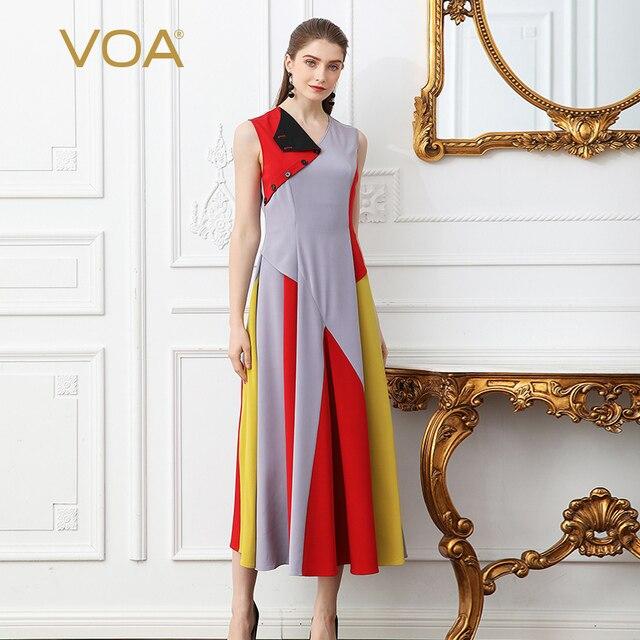 a9e31211d4e VOA Heavy Silk Women Long Pleated Dress Plus Size 5XL Irregular Dress V  Neck Summer Sleeveless