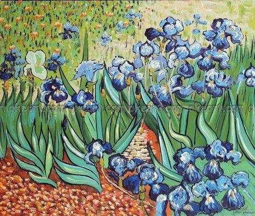 Aliexpress Com Buy 100 Hand Painted Irises Blue Flowers