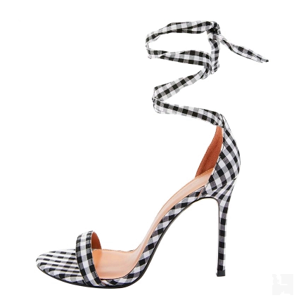 Black White Plaid Lace-up Woman High heel Sandal Sexy Open Toe Thin Heels Gladiator Shoes Cutouts Dress Shoes grommet lace up front plaid cami dress page 7