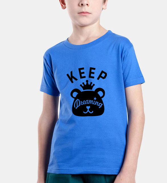 keep dreaming cute Cartoon print kids t shirts streetwear tops funny children short sleeve t-shirts homme brand clothing 2018