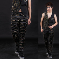 Nightclubs Male Singer Personality Full Rivets Slim Leather Pants Super stars Show stage trousers DS Costumes