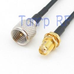 8in mini UHF męski PL259 na złącze żeńskie SMA złącze RF adapter 20 CM Pigtail koncentryczny kabel jumper RG174 przedłużacz