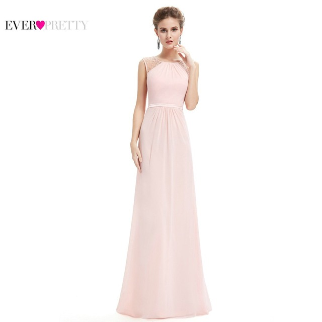 Bridesmaid Dresses EP08742 Pink Peach Women Elegant Chiffon Empire Sleeveless Lace Plus Size Long Bridesmaid Dresses