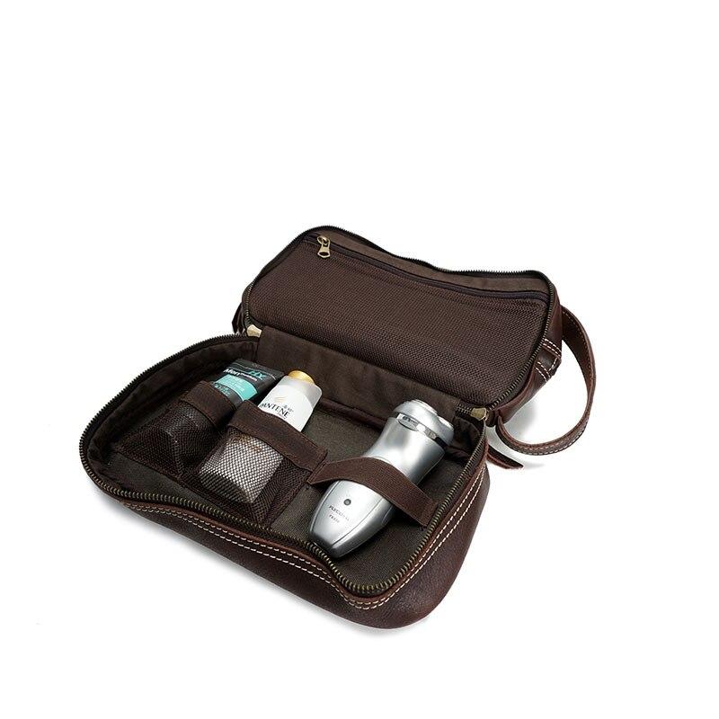 Mannen Clutch Cosmetische Tas Vintage Echt Lederen Reizen Stuff Make Up Tas Multifunction Handtas Voor Man Mannelijke Reizen Organizer-in Cosmetische tas & Koffers van Bagage & Tassen op  Groep 2