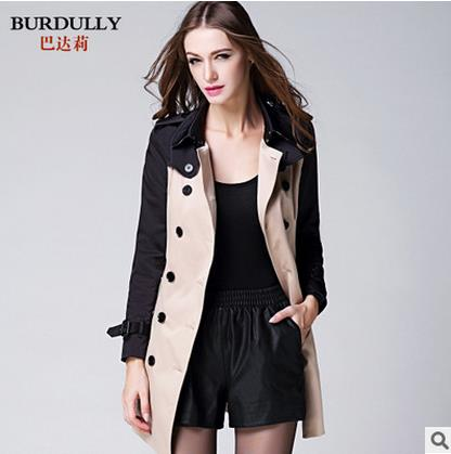 BURDULLY Wholesale Spring Coat Slim   Trench   Coat For Women Double-breasted women coat Sashes Coat Female Khaki Windbreaker Women