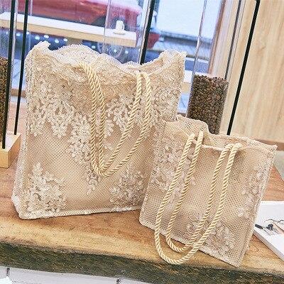 Chic Lace Women Handbag Totes Wedding Bridal Party Shoulder Bag Summer Beach Lady Large Capacity Embroidery Women's Shopping Bag