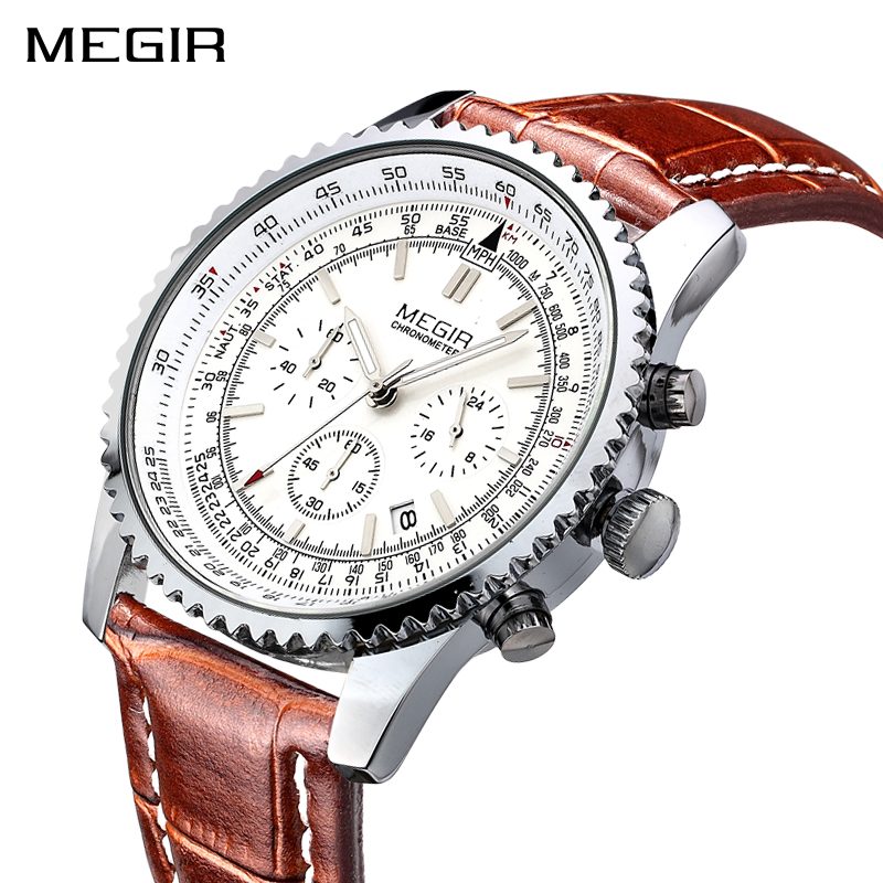 MEGIR Top Brand Men's Sports Watches Fashion Waterproof Leather Strap Quartz Wrist Watch Men Casual Clock Male Relogio Masculino megir men s military sports watches fashion luxury top brand quartz wrist watch men leather strap clock male relogio masculino