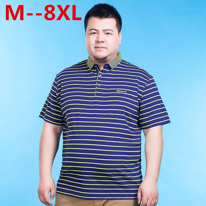 10XL 8XL 6XL 5XL 4X été hommes Polo chemise hommes d'affaires décontracté hommes rayure mode homme Polo à manches courtes respirant Polos