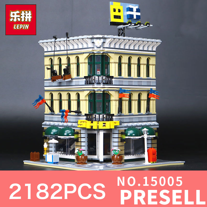 2182Pcs Lepin 15005 City Grand Emporium Model Building Blocks Kits Brick Toy Compatible Educational LegoING 10211 Children Gift a toy a dream lepin 15008 2462pcs city street creator green grocer model building kits blocks bricks compatible 10185