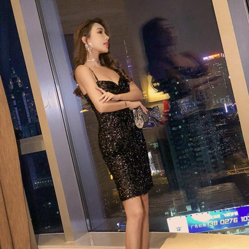 SexeMara moda el nuevo Sexy Sling lentejuelas cadera bajo pecho Slim fit vestido envío gratis - 4
