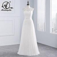 2018 Vintage הלטר שיפון חתונת שמלה עם חרוזים ונצנצים הכלה שמלת קו Vestido דה Niove