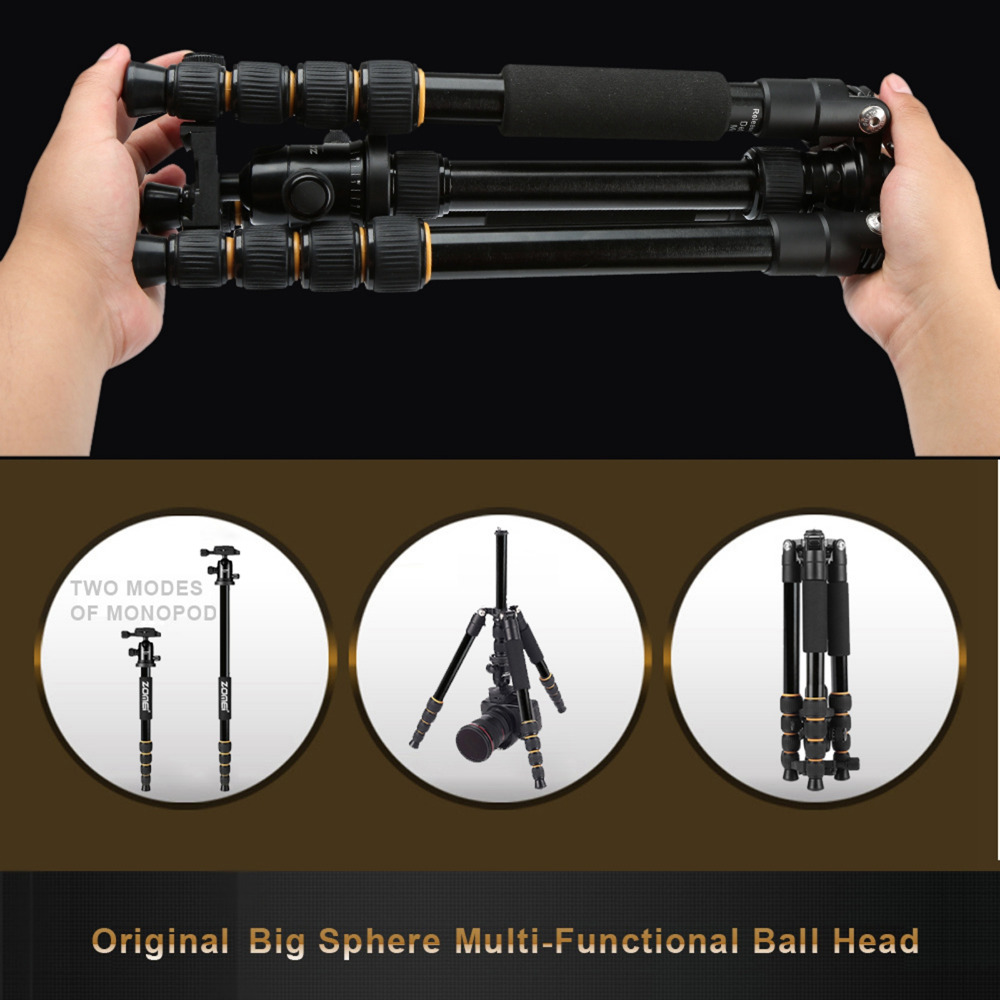 Image 2 - ZOMEI lightweight Portable Q666 Professional Travel Camera Tripod Monopod aluminum Ball Head compact for digital SLR DSLR camera-in Live Tripods from Consumer Electronics