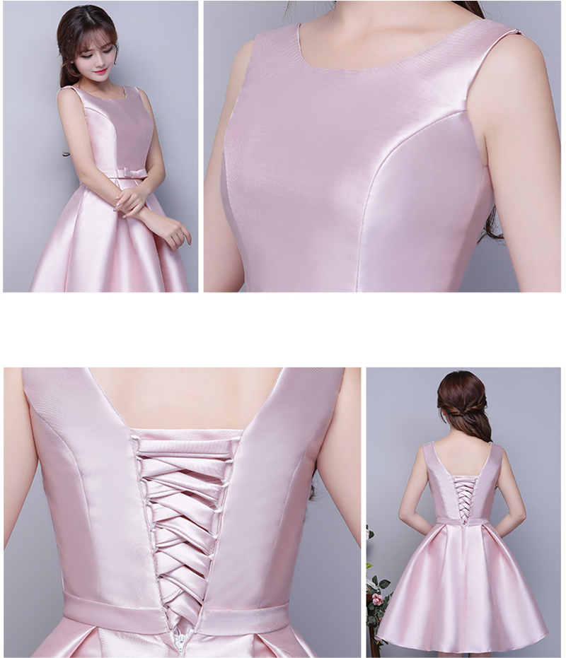 725879188e8 Boat Neck Satin Short Bridesmaid Dresses Silver Champagne Sky Blue Pink Maid  of Honor Dresses vestido madrinha -in Bridesmaid Dresses from Weddings    Events ...