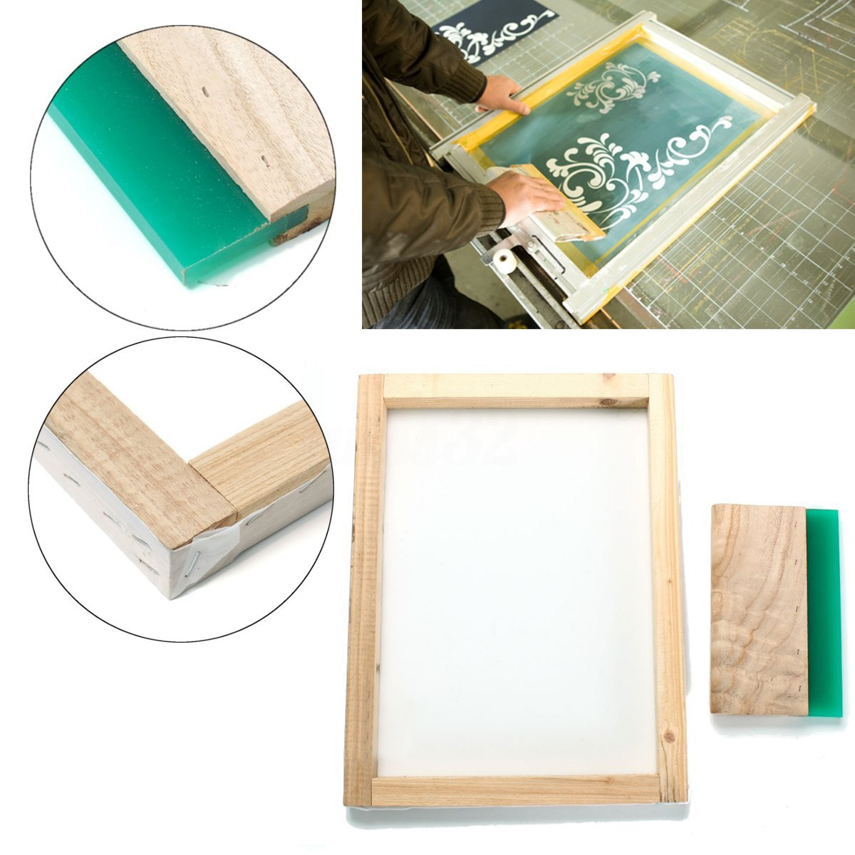 Silk Screen Printing Frame Wooden Board 300*400mm with 43T Mesh & 8 Wood Squeegee Blade DIY Ink Scraper Scratch Tool Mayitr rubber squeegee blade for screen printing ink scraper print doctor 25 5mm