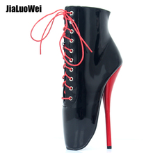 jialuowei Ballet Boots 18cm Super High Heel Lace-Up Pointed Toe SpiKe Heels Women Sexy Fetish Ankle Boots jialuowei new 18cm 7 ultra high heel strange wedges sexy fetish ballet boots women lace up lockable ankle boots with padlocks