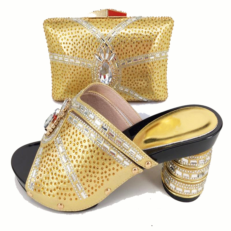 Italy design hand made high quality african aso ebi wedding party gold shoes and bag matching set italian size 37-43 SB8156-5 italian made simple