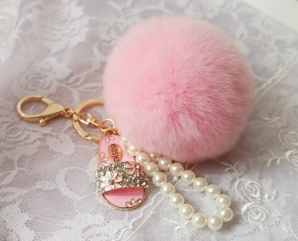 Pearl decoration 8CM rabbit fur ball pompom keychains luxury