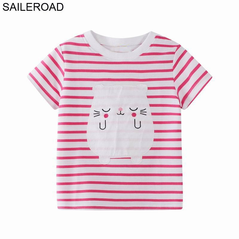 0cc28469c SAILEROAD Cat Animal Print Children's T-shirts 4 Years for Girl's Shirt  Baby Boy tshirt Summer 2019 Children's Clothing Girl