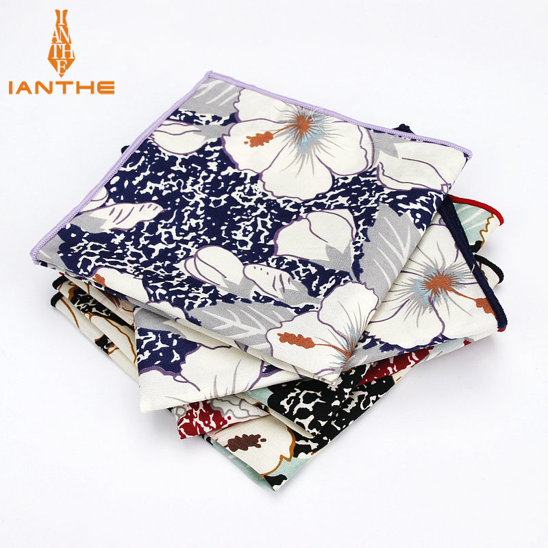 Brand New Men's 100% Cotton Floral Vintage Pocket Square For Man Classic Handkerchief Check Hankies Suits Wedding Print Towel