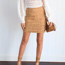 Tassel Suede Deerskin Skirts Women Sexy Vintage A-Line Office Skirts Womens Autumn sexy bodycon Mini Skirt