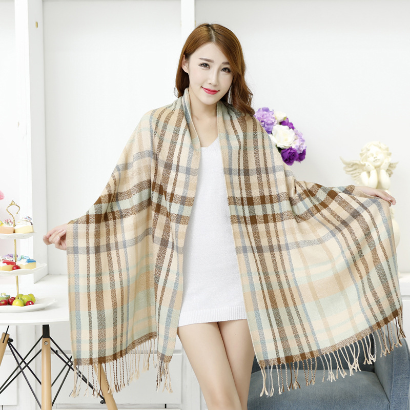 Classic Men And Women Cashmere Pashmina Lengthen Warm Thick Double Plaid font b Tartan b font