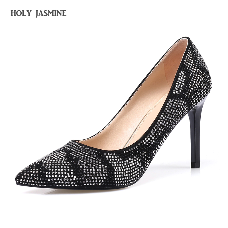 Hot sale New 2017 Spring Autumn Women Pumps Sexy Thin High Heels Pointed Toe Shoes Fashion Luxury Rhinestone Wedding Party Shoes 2017 new fashion spring ladies pointed toe shoes woman flats crystal diamond silver wedding shoes for bridal plus size hot sale