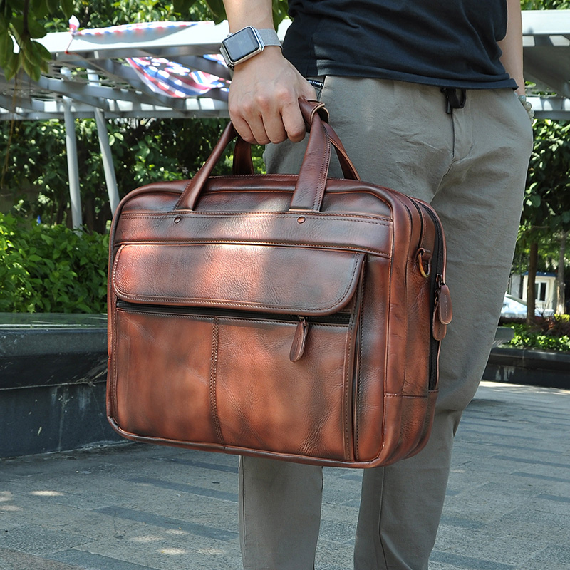 Men Original Leather Business Briefcase Attache Messenger Bag Male Design Travel Laptop Document Case Tote Portfolio Bag 7146