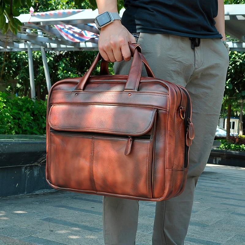 Men Original Leather Business Briefcase Attache Messenger Bag Male Design Travel Laptop Document Case Tote Portfolio Bag 7146