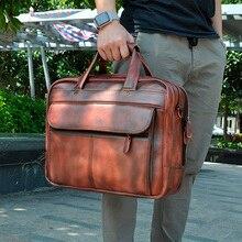 Maletín de negocios de cuero Original para hombre, bolsa de mensajero de diseño masculino, funda de viaje para ordenador portátil, bolsa de mano, 7146