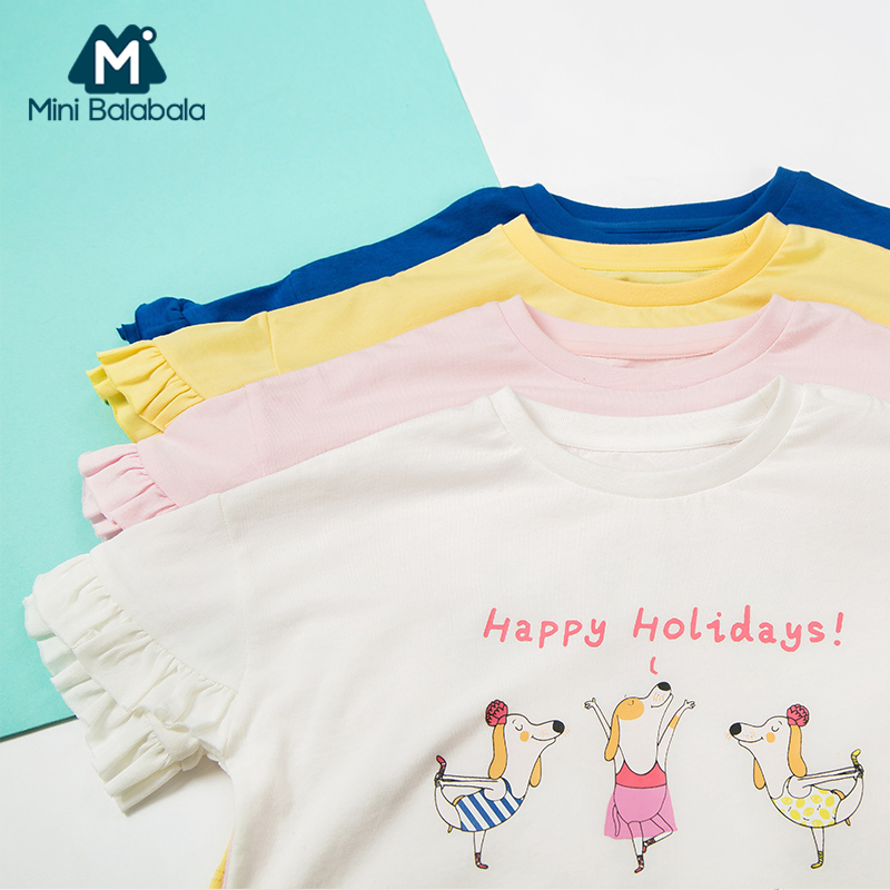 Mini Balabala Toddler Girl Soft Cotton Ruffled Short-sleeved T-shirt in Print Children Kid Girl Ribbed Crewneck T-shirt Tee Top