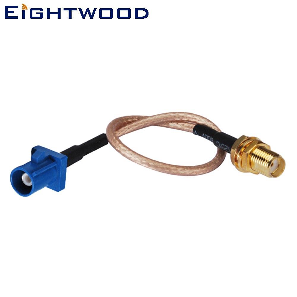 Eightwood Fakra C Mâle Droit à SMA Femelle Cloison Droite Adaptateur Câble RG316 15 cm pour Voiture GPS Antenne Personnalisable