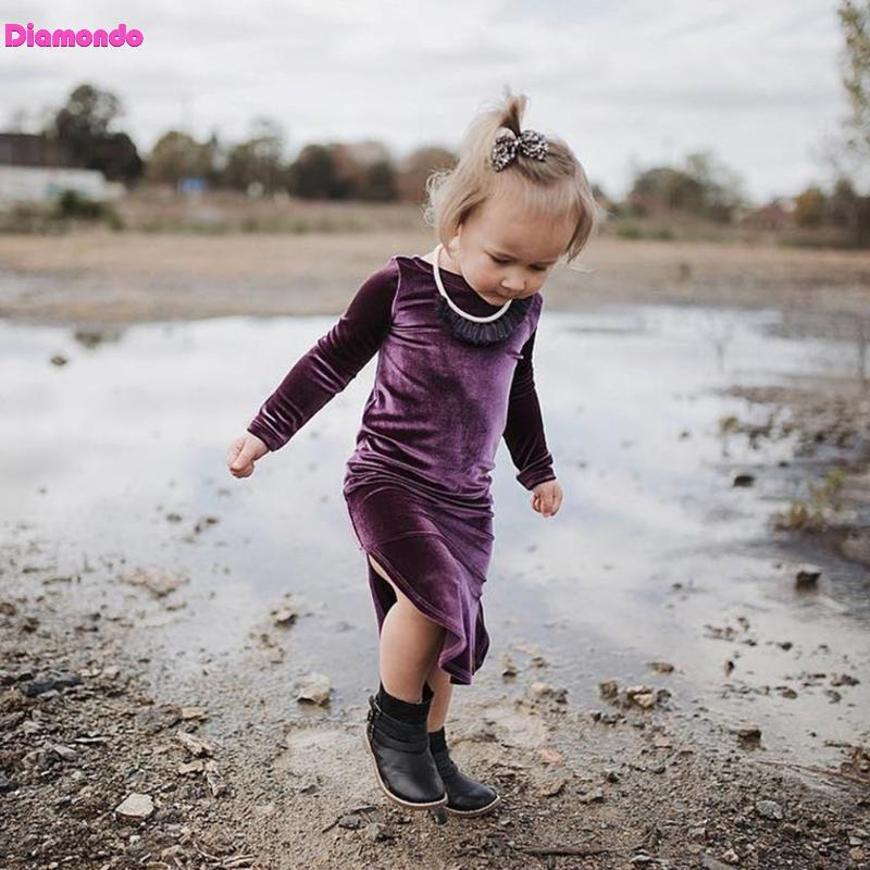 Casual Spring Autumn European Girls Kids Pleuche O-Neck Pure Color Split Long Sleeve Pirncess Girls Dress Outfits For 1-6Y uovo brand kids spring autumn new sport shoes for girls green color casual sneakers kids fashion canvas shoe zapatos eu 30 37