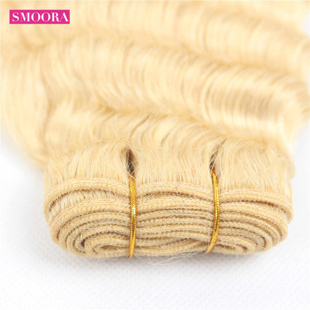 Smoora Blonde Bundles With Closure Brazilian Deep Wave Bundle With Closure Non Remy Blonde 613 Human Hair Bundles With Closure