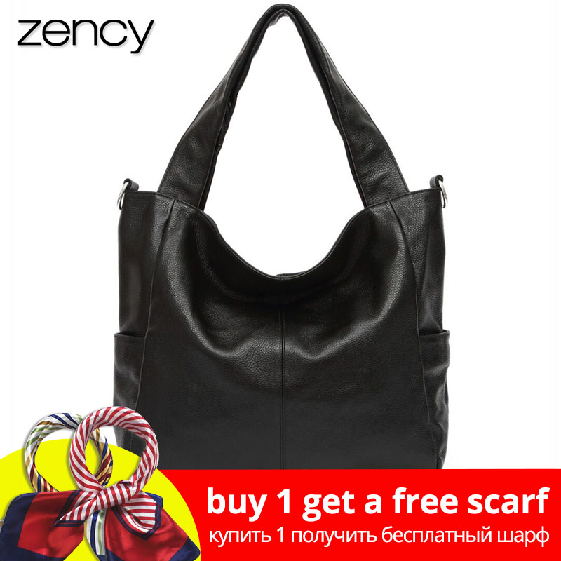 Zency Fashion Women Shoulder Bag 100% Äkta Läder Lady Crossbody Messenger Purse Satchel Tygväskor Kaffe Svart Handväska