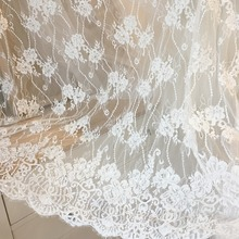 3 Meters Off White Floral Embroidery Lace Fabric, Bridal Gown Veil Shrug with Scallop Border bidal cape fabric 150cm wide