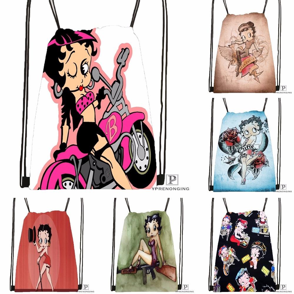 Custom Fashionable Betty Boop Drawstring Backpack Bag Cute Daypack Kids Satchel (Black Back) 31x40cm#180531-02-55