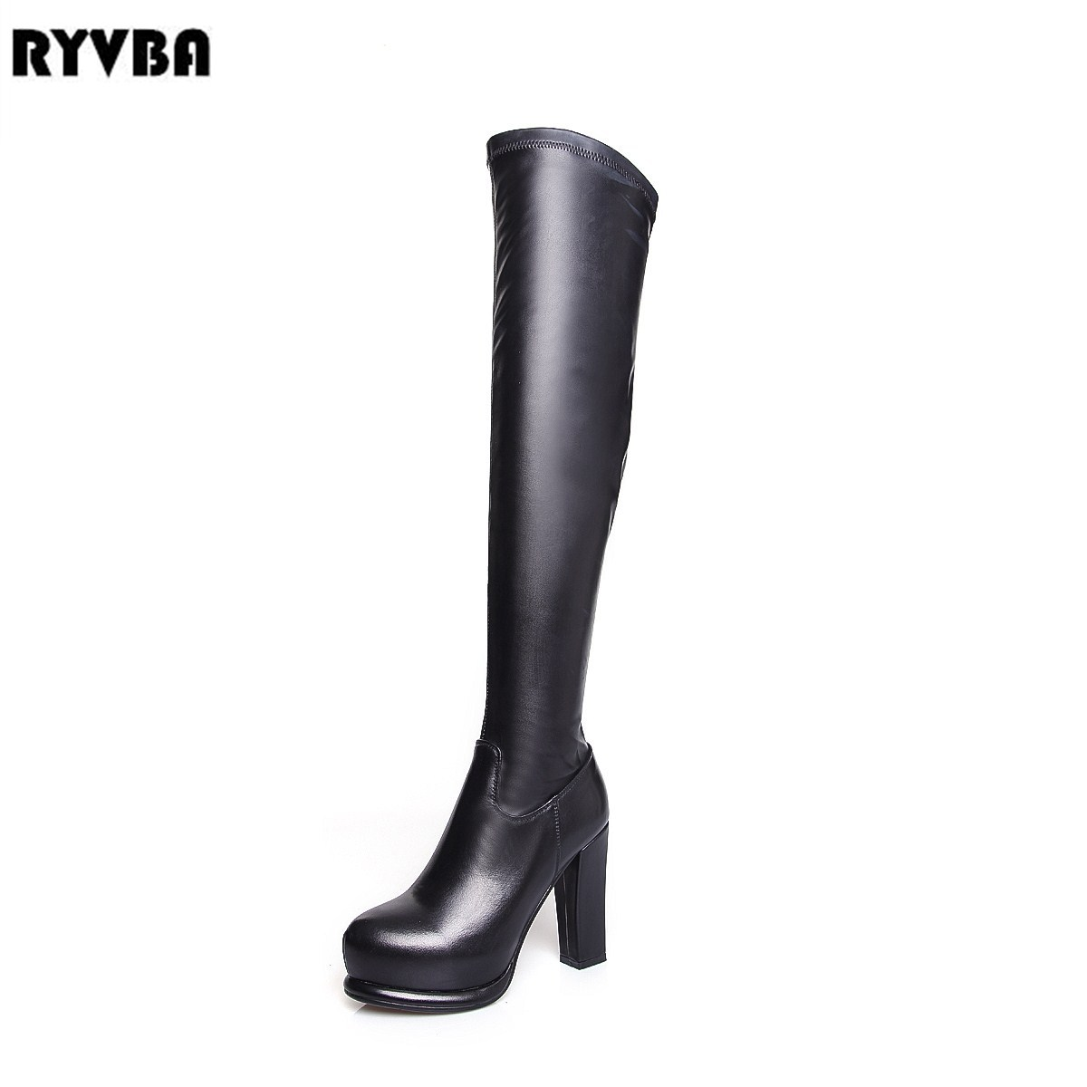 RYVBA Women over the knee boots Fashion Genuine Leather PU Winter thigh high boots high heels Woman Platform Round toe shoes memunia big size 34 43 over the knee boots for women fashion shoes woman party pu platform boots zip high heels boots female