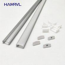 HAMRVL 2-10 комплектов, 0,5 м, 12 мм, Светодиодная лента, алюминиевый профиль, светильник, плоский корпус, прозрачная крышка, заглушки