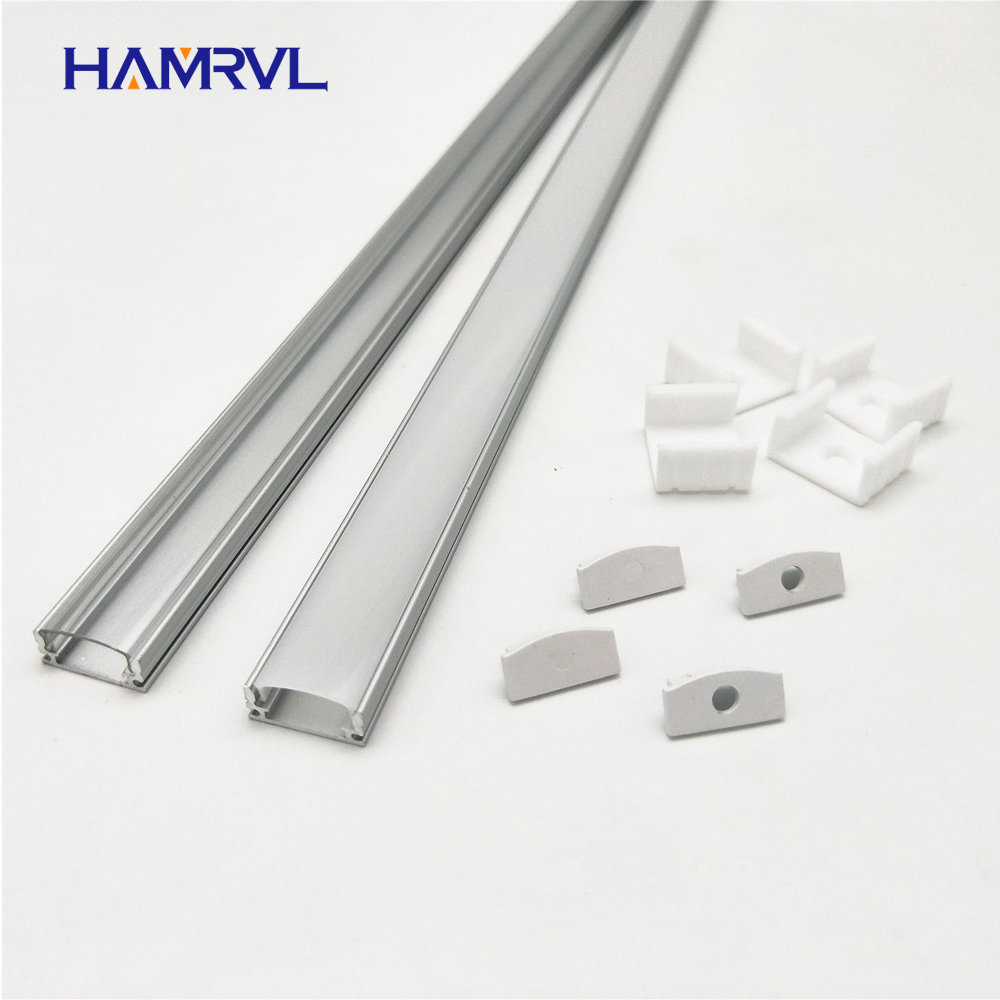 HAMRVL 2-10 Sets Lot 0.5m 12mm Strip Led Aluminum Profile For Light Bar Channel Flat Housing Milky Cover Clear End Caps Clips