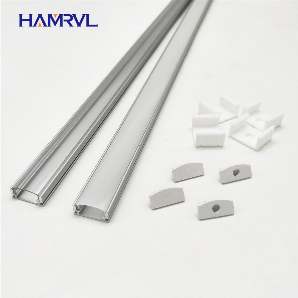 HAMRVL 2-10 sets lot 0.5m 12mm strip led aluminum profile for light bar channel flat housing milky cover clear end caps clips
