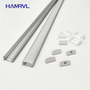 HAMRVL 2-10 sets lot 0.5m 12mm strip led aluminum profile for light bar channel flat housing milky cover clear end caps clips(China)