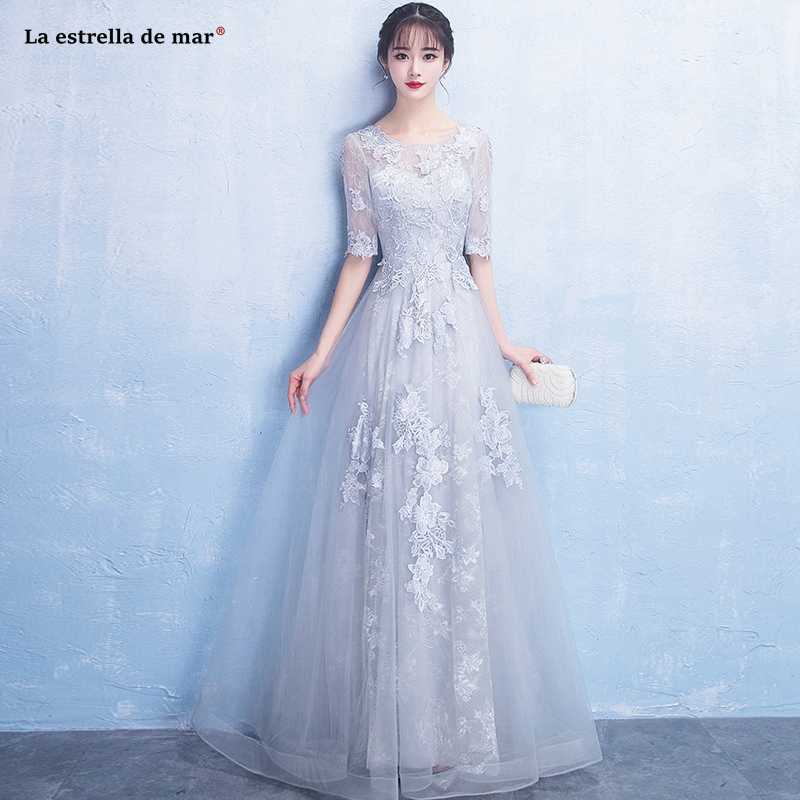 Vestido dama de honor boda2019 new Scoop neck lace half sleeve A Line silver   bridesmaid     dress   long robes demoiselle honneur