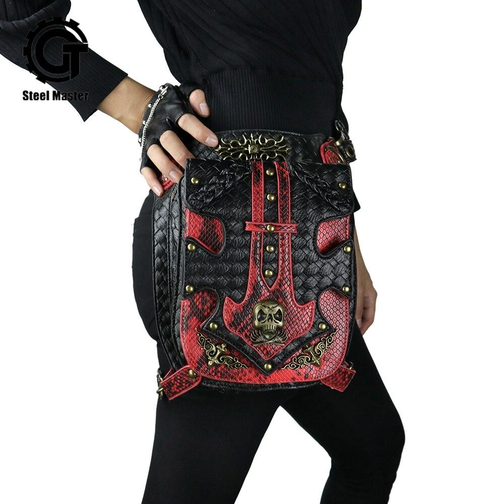 Red Black Leather Patchwork Bronze Skull Rivet Punk Waist Bags For Women Men Vintage Motorcycle Leg Bag Of Original Designer